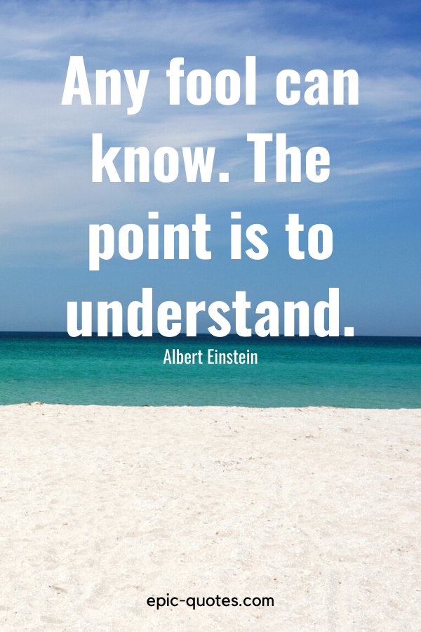 """""""Any fool can know. The point is to understand."""" -Albert Einstein"""