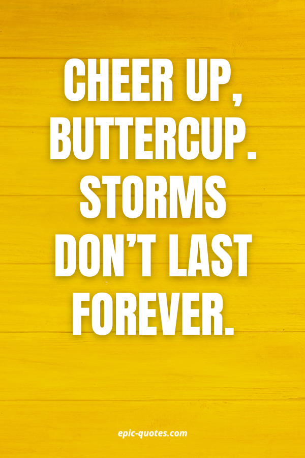 Cheer up, buttercup. Storms don't last forever.