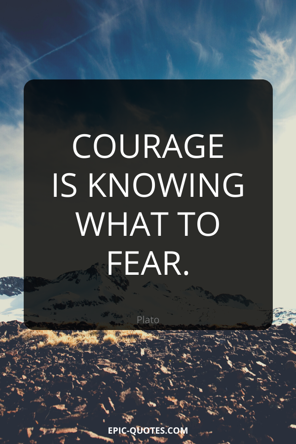 Courage is knowing what to fear. -Plato