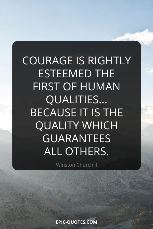 Courage is rightly esteemed the first of human qualities... because it is the quality which guarantees all others. -Winston Churchill