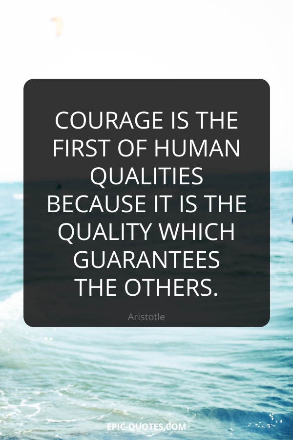 Courage is the first of human qualities because it is the quality which guarantees the others. -Aristotle