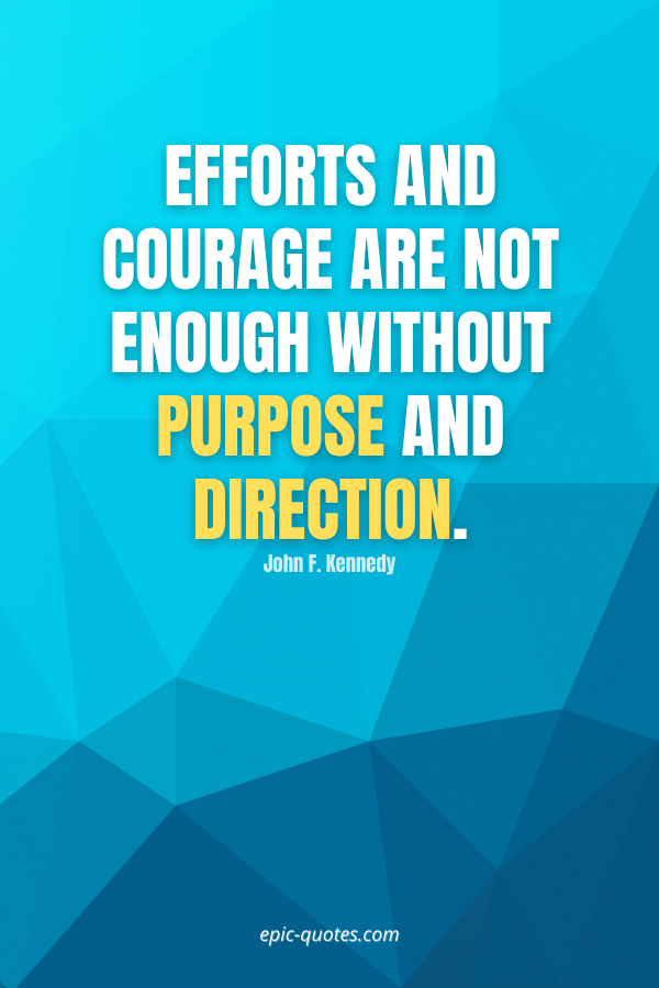 Efforts and courage are not enough without purpose and direction. -John F. Kennedy