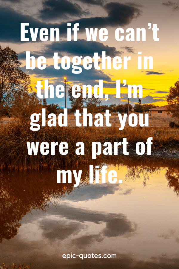 """""""Even if we can't be together in the end, I'm glad that you were a part of my life."""""""