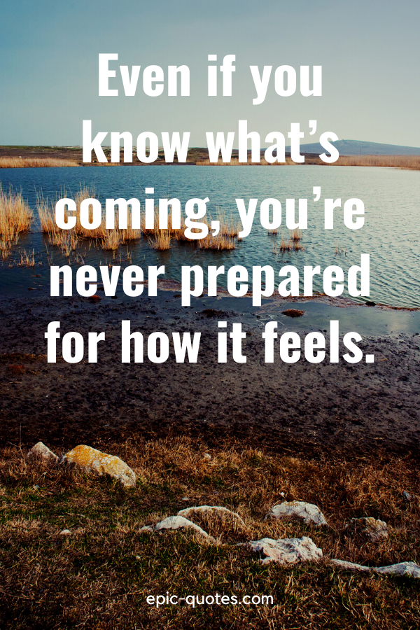 """""""Even if you know what's coming, you're never prepared for how it feels."""""""