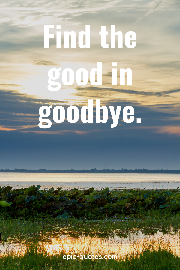"""""""Find the good in goodbye."""""""