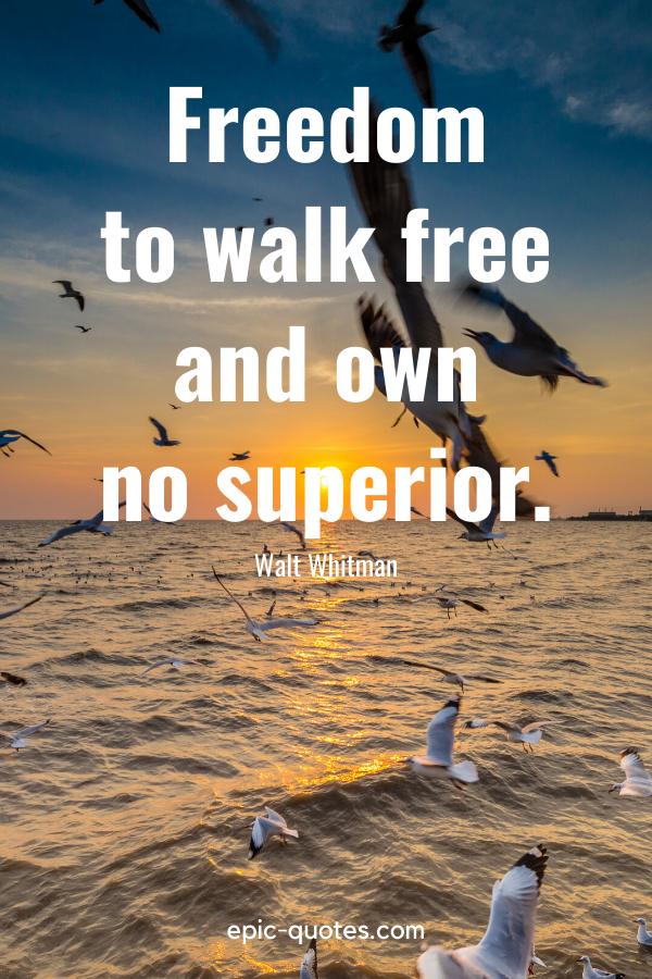 """Freedom – to walk free and own no superior."" -Walt Whitman"