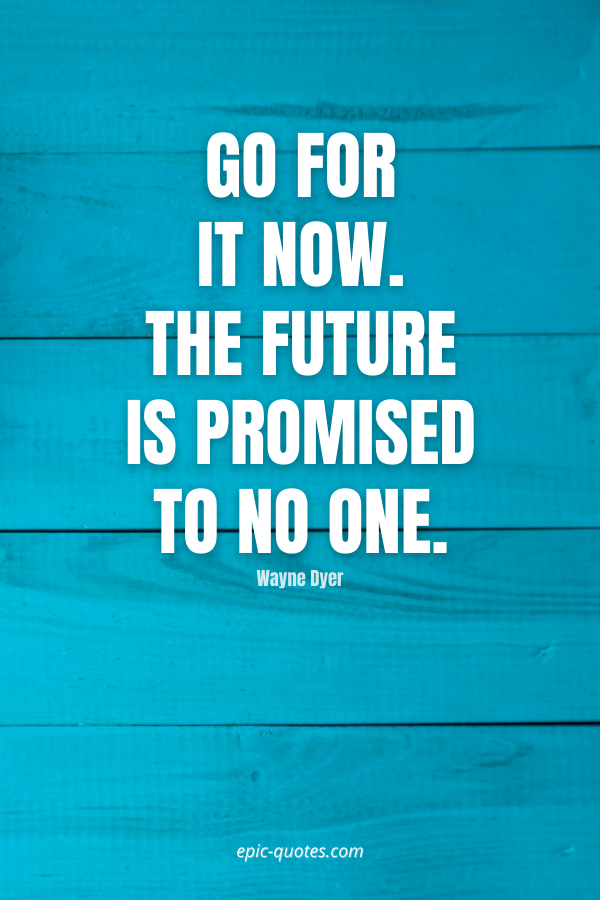 Go for it now. The future is promised to no one. -Wayne Dyer