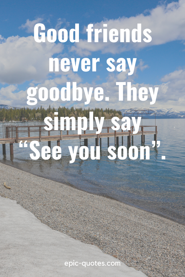 """""""Good friends never say goodbye. They simply say """"See you soon""""."""""""
