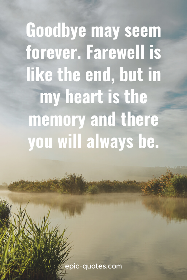 """""""Goodbye may seem forever. Farewell is like the end, but in my heart is the memory and there you will always be."""""""