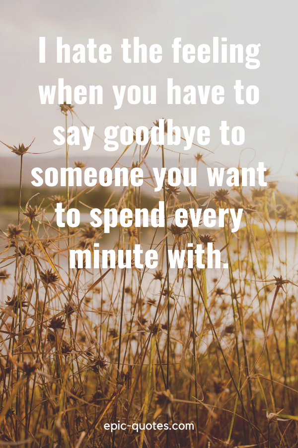 """""""I hate the feeling when you have to say goodbye to someone you want to spend every minute with."""""""