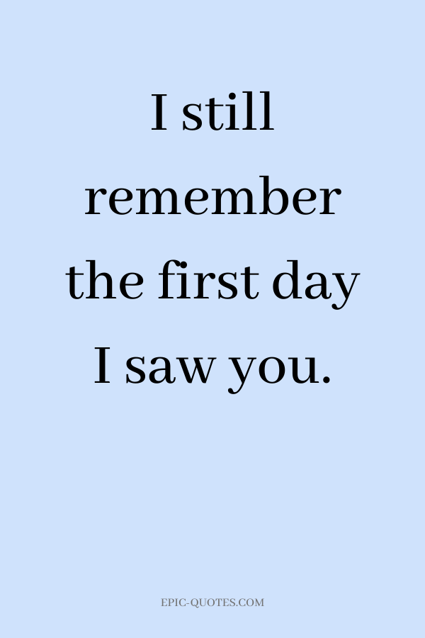 I still remember the first day I saw you.