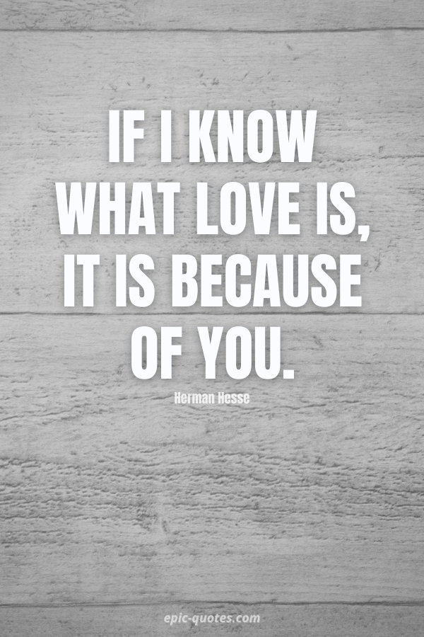 If I know what love is, it is because of you. -Herman Hesse