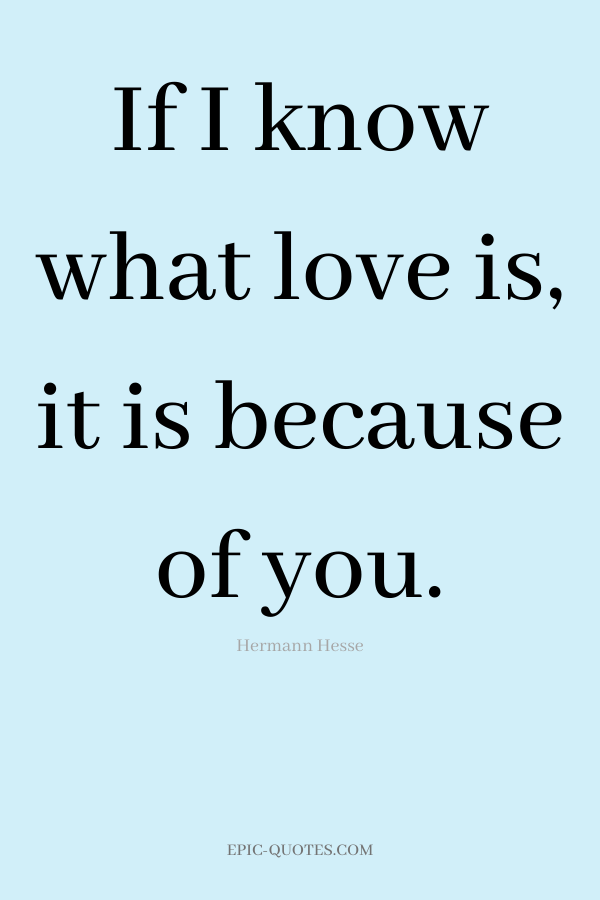 If I know what love is, it is because of you. -Hermann Hesse