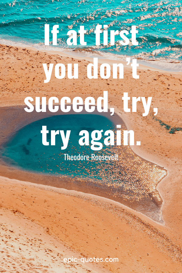 """""""If at first you don't succeed, try, try again.""""-Theodore Roosevelt"""