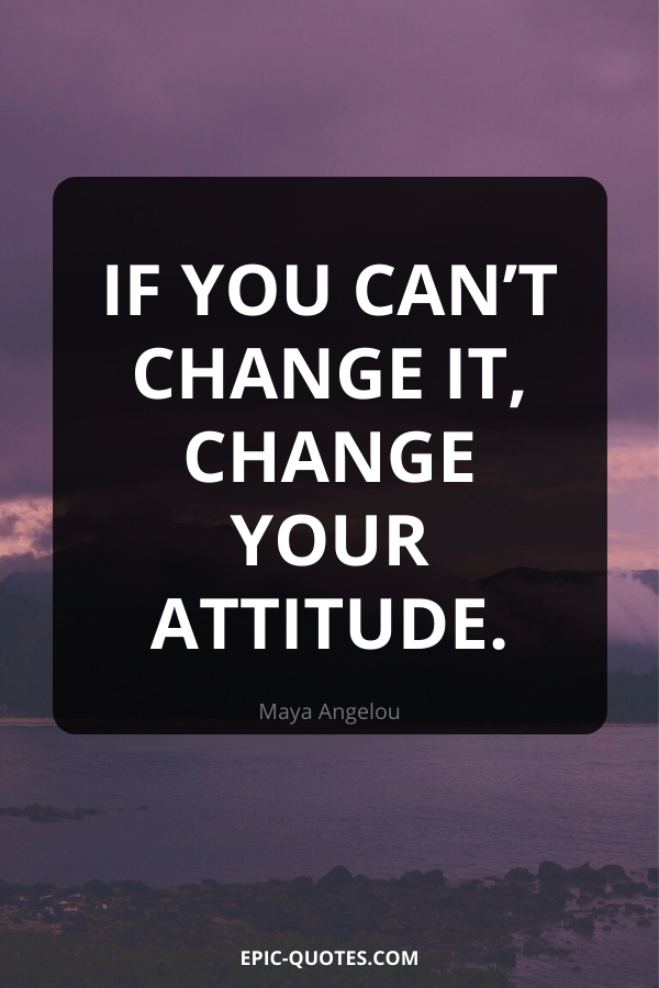 If you can't change it, change your attitude. -Maya Angelou