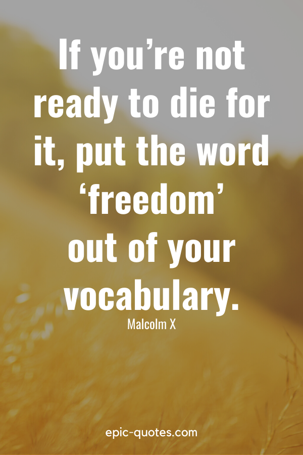 """""""If you're not ready to die for it, put the word 'freedom' out of your vocabulary."""" -Malcolm X"""