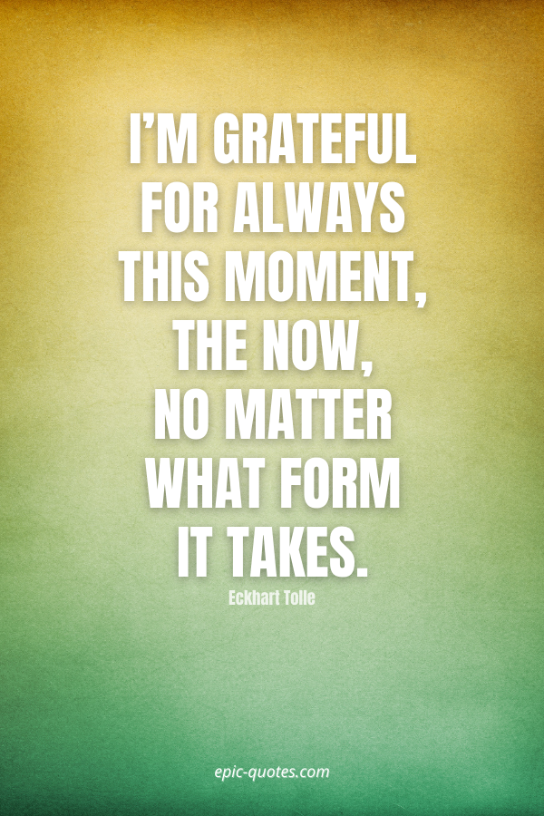 I'm grateful for always this moment, the now, no matter what form it takes. -Eckhart Tolle
