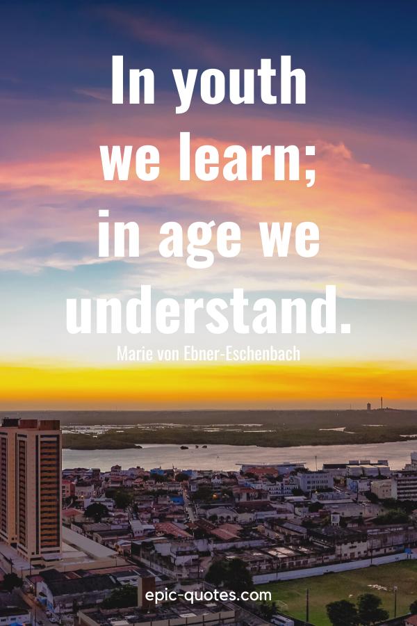 """""""In youth we learn; in age we understand."""" -Marie von Ebner-Eschenbach"""