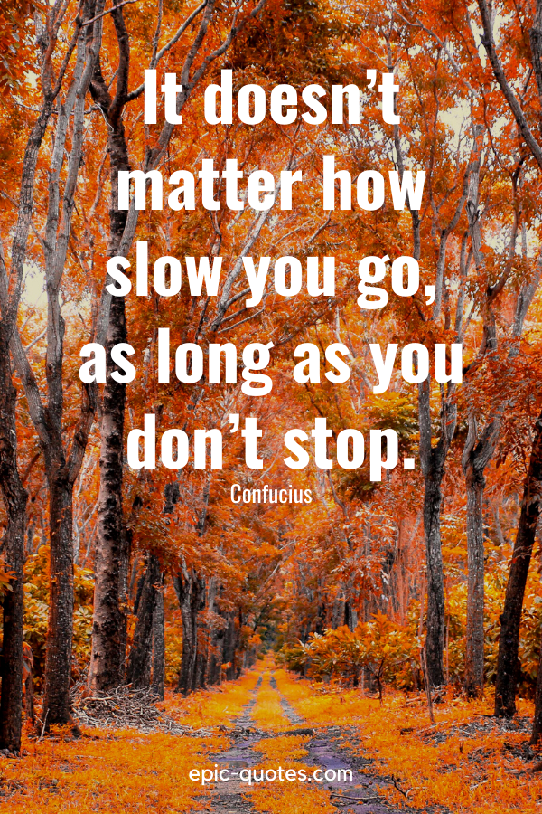 """""""It doesn't matter how slow you go, as long as you don't stop."""" -Confucius"""