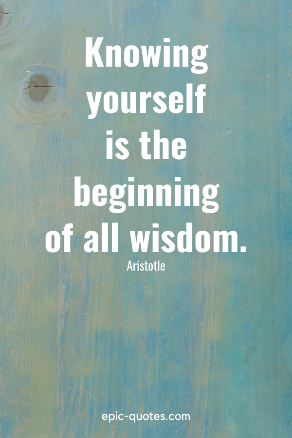 """""""Knowing yourself is the beginning of all wisdom."""" -Aristotle"""