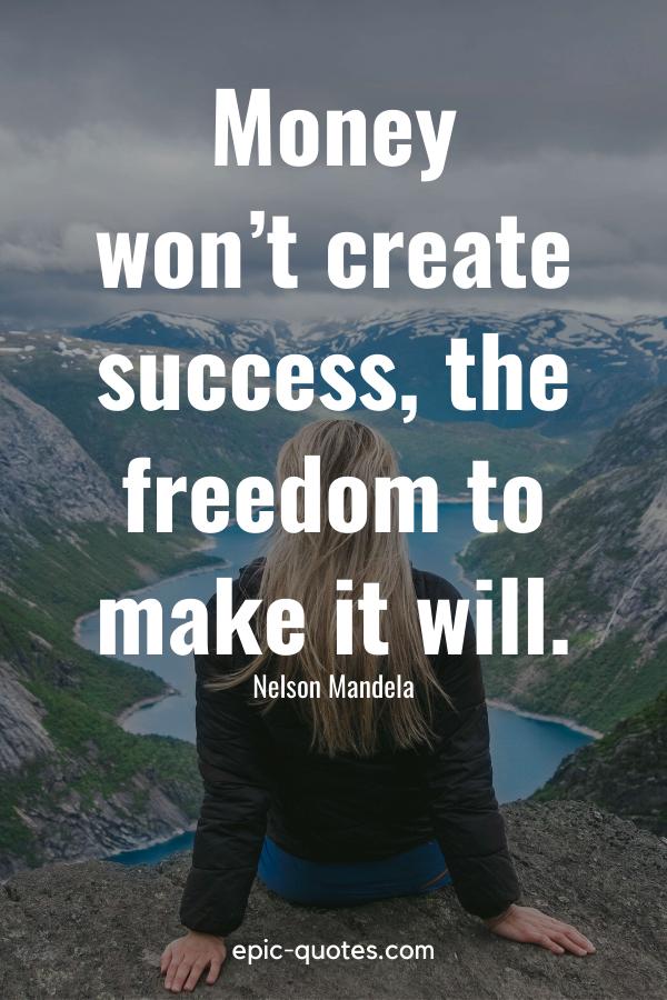 """Money won't create success, the freedom to make it will."" -Nelson Mandela"