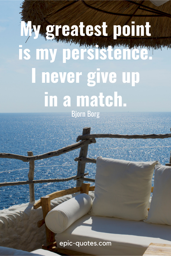 """""""My greatest point is my persistence. I never give up in a match.""""-Bjorn Borg"""