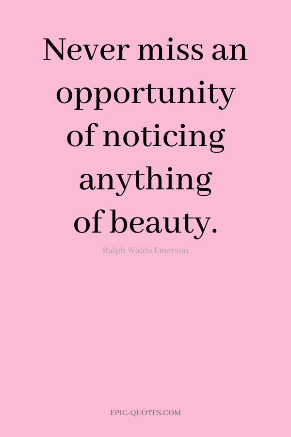 Never miss an opportunity of noticing anything of beauty. -Ralph Waldo Emerson