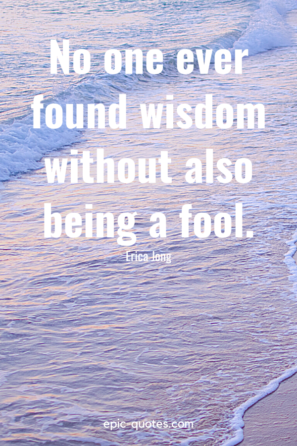 """""""No one ever found wisdom without also being a fool."""" -Erica Jong"""