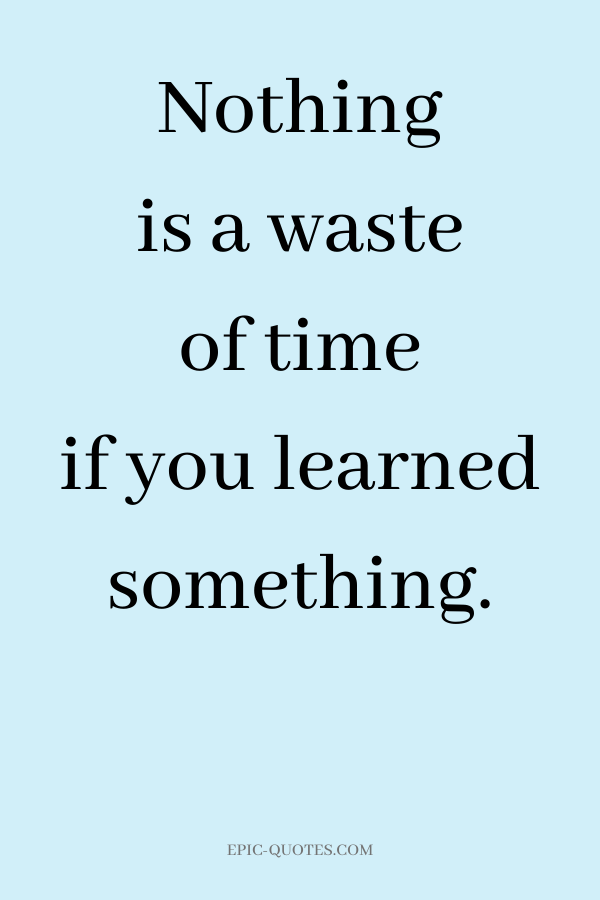 Nothing is a waste of time if you learned something.