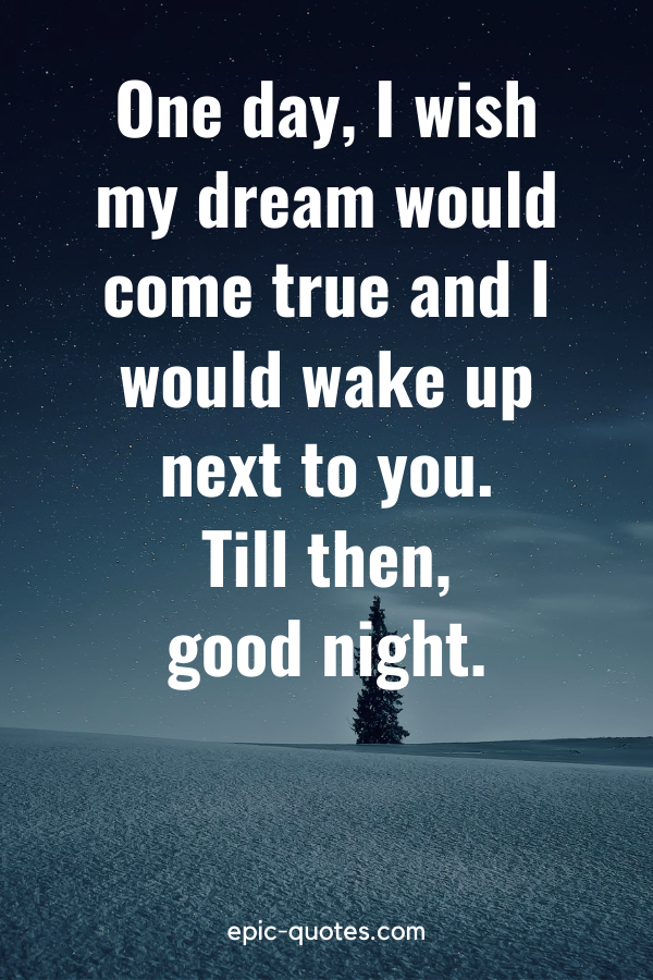 """""""One day, I wish my dream would come true and I would wake up next to you. Till then, good night."""""""