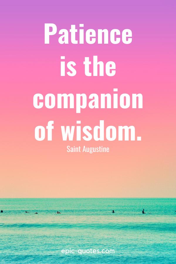 """Patience is the companion of wisdom."" -Saint Augustine"