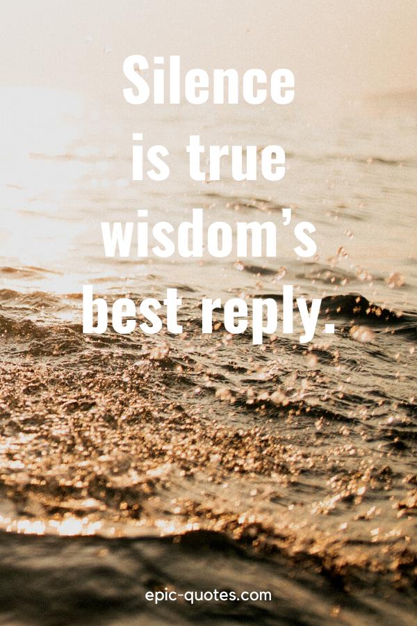 """""""Silence is true wisdom's best reply."""""""