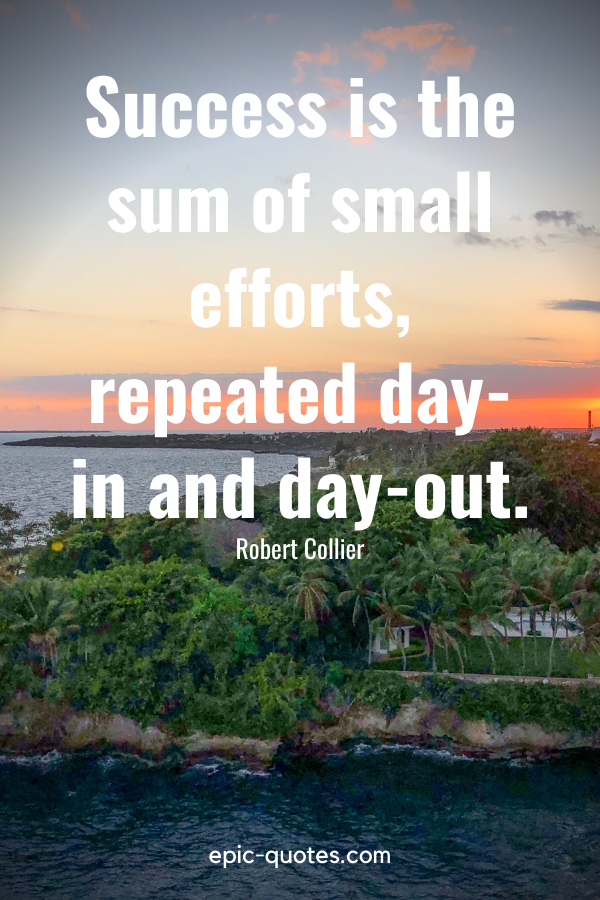 """""""Success is the sum of small efforts, repeated day-in and day-out.""""-Robert Collier"""