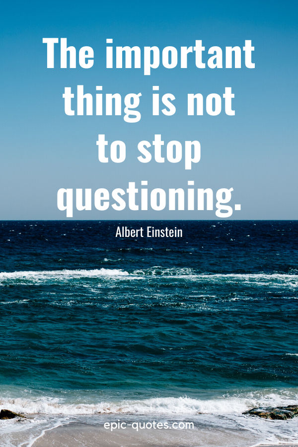 """""""The important thing is not to stop questioning."""" -Albert Einstein"""