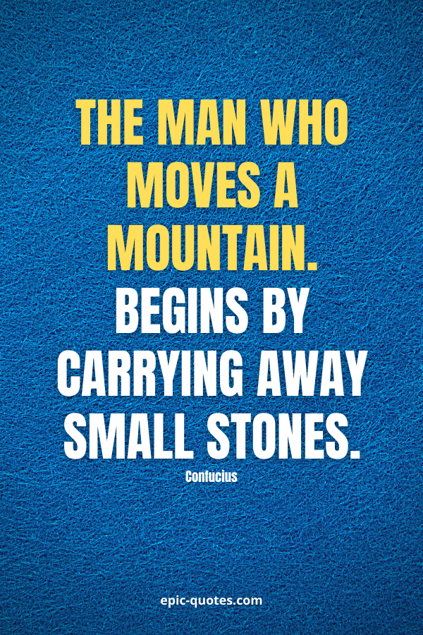 The man who moves a mountain begins by carrying away small stones. -Confucius