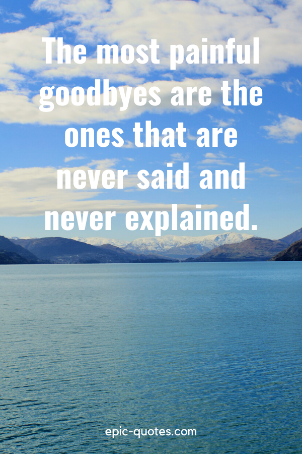"""""""The most painful goodbyes are the ones that are never said and never explained."""""""
