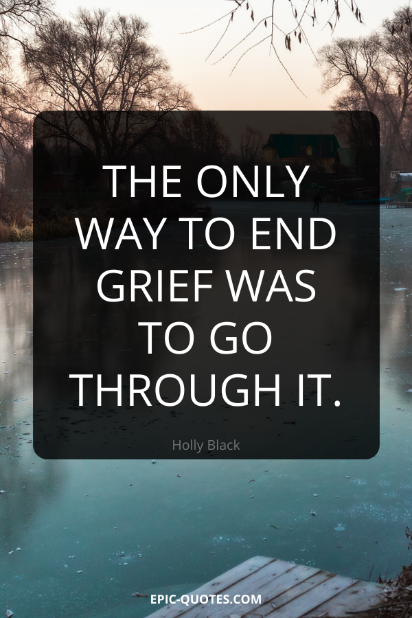 The only way to end grief was to go through it. -Holly Black