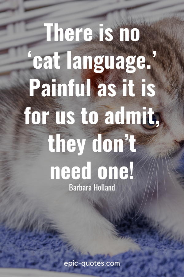 """""""There is no 'cat language.' Painful as it is for us to admit, they don't need one!"""" -Barbara Holland"""