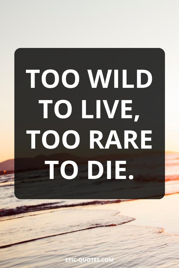 Too wild to live, too rare to die