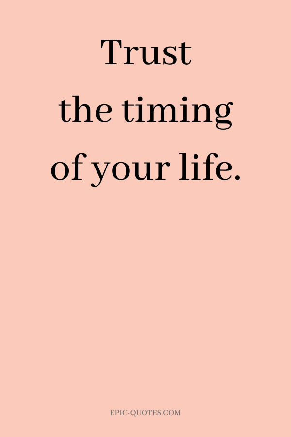 Trust the timing of your life.