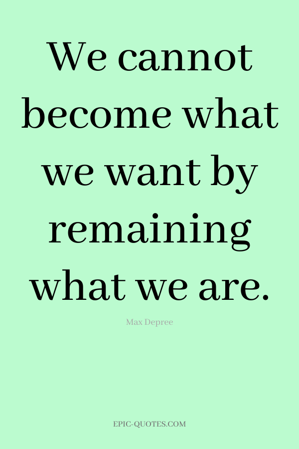 We cannot become what we want by remaining what we are. -Max Depree