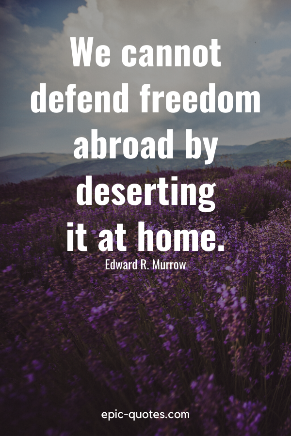 """""""We cannot defend freedom abroad by deserting it at home."""" -Edward R. Murrow"""