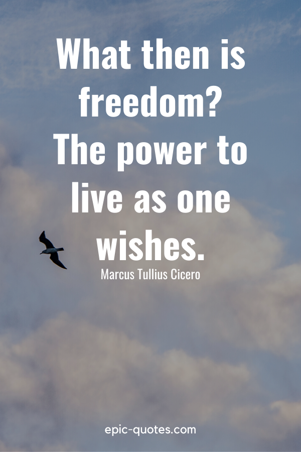 """""""What then is freedom The power to live as one wishes."""" -Marcus Tullius Cicero"""