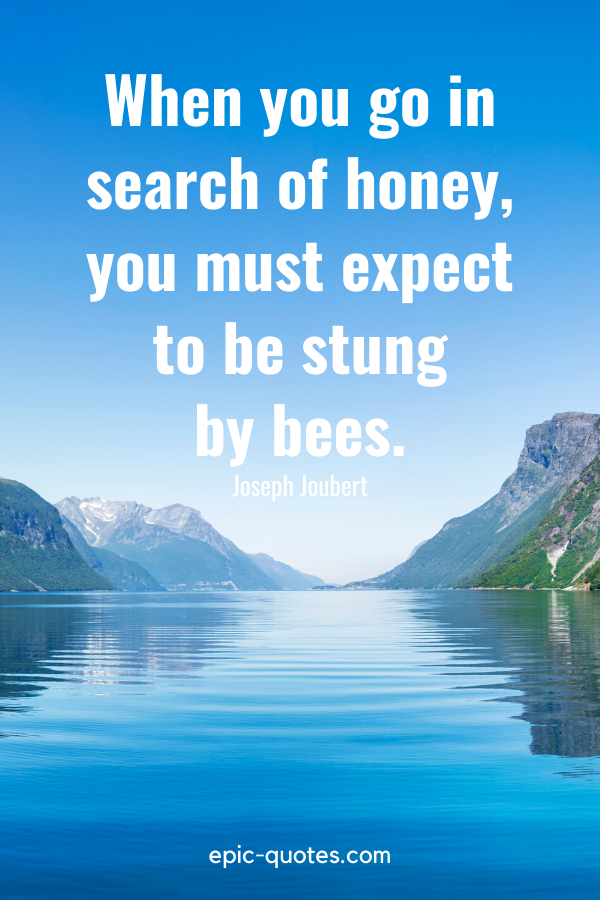 """""""When you go in search of honey, you must expect to be stung by bees.""""-Joseph Joubert"""