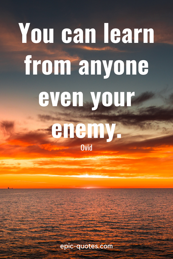 """""""You can learn from anyone even your enemy."""" -Ovid"""