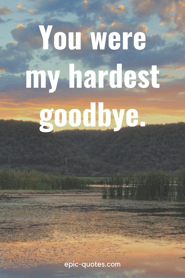 """You were my hardest goodbye."""