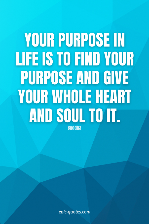 Your purpose in life is to find your purpose and give your whole heart and soul to it. -Buddha